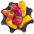 Fresh Sweet Peppers in a Modern Metal Bowl — Lizenzfreies Foto