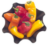 Fresh Sweet Peppers in a Modern Metal Bowl — Stock Photo