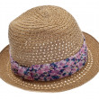 Summer Hat with Floral Ribbon — Stock Photo