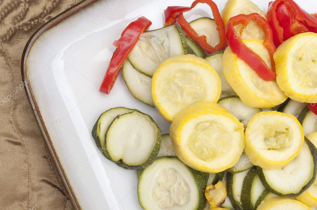 Meal of Fresh Steamed Vegetables Squash, Zucchini and Peppers.  Stock Photo #5144760