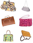 Set of 6 Ladies Purses Handbags — Stock Photo