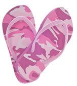 Feminine Camouflage Flip Flop Sandals in Heart Shape — Stock Photo
