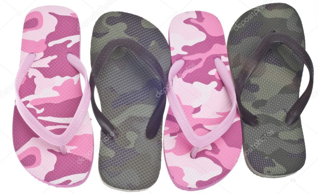 Masculine and Feminine Camouflage Flip Flop Sandals Isolated on White with a Clipping Path. — Stock Photo #5303202