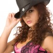 Sexy woman in black hat - Stock Photo