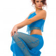 Woman in blue dress — Stockfoto