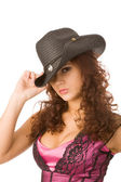 Sexy woman in black hat — Stock Photo