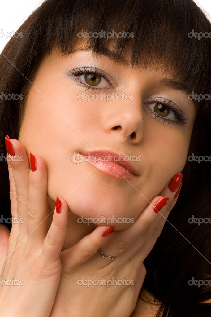 Portrait of pretty young woman on white background — Stock Photo #4456966