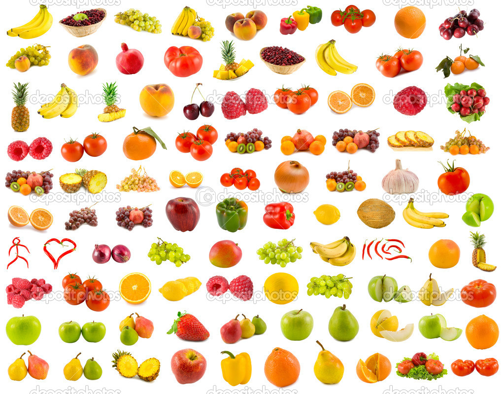 Set from 96 various fruits, vegetables and berries — Stock Photo #4458396