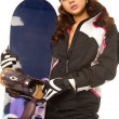 Woman with snowboard — Stock Photo #4496811