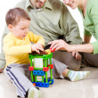 Child is building a house with patents — Stockfoto