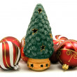 Ceramic christmas tree and xmas baubles — Stock Photo