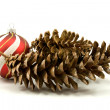 Stock Photo: Pine cones and christmas bauble
