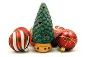 Ceramic christmas tree and xmas baubles — Stock Photo