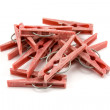 Pile of plastic clothes pegs — Stock Photo