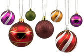Colorful ornate christmas baubles — Stock Photo