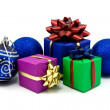 Christmas baubles and gifts boxes — Stock Photo