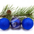 Stock Photo: Pine branch and christmas baubles