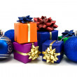 Stock Photo: Blue christmas baubles and gifts