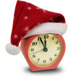 Clock in the hat of Santa — Stock Photo