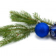 Fir branch with christmas baubles — Stock Photo