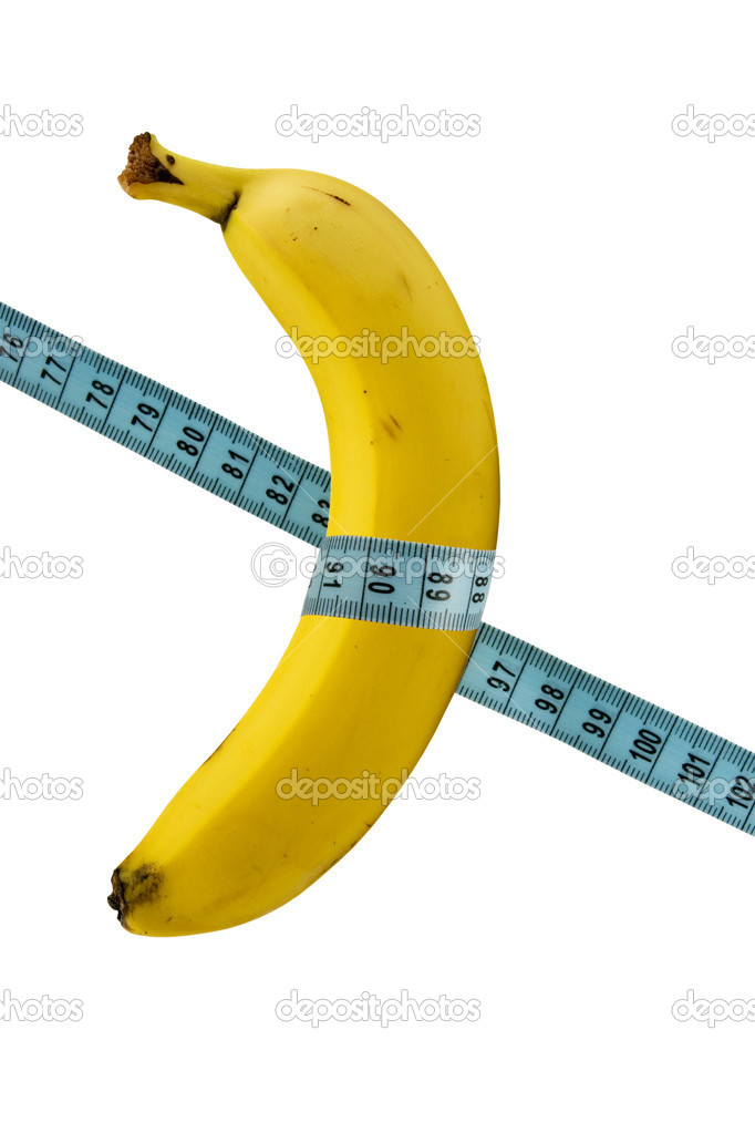 Health and nutrition. banana with measure tape — Stock Photo #4560650