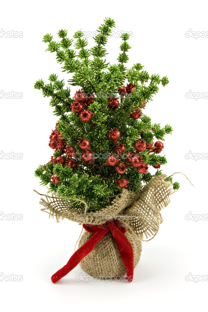 Artificial decorative christmas tree on white background — Stock Photo #4605521