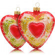 Two hearts shaped baubles — Stock Photo