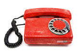 Old dirty red telephone — 图库照片