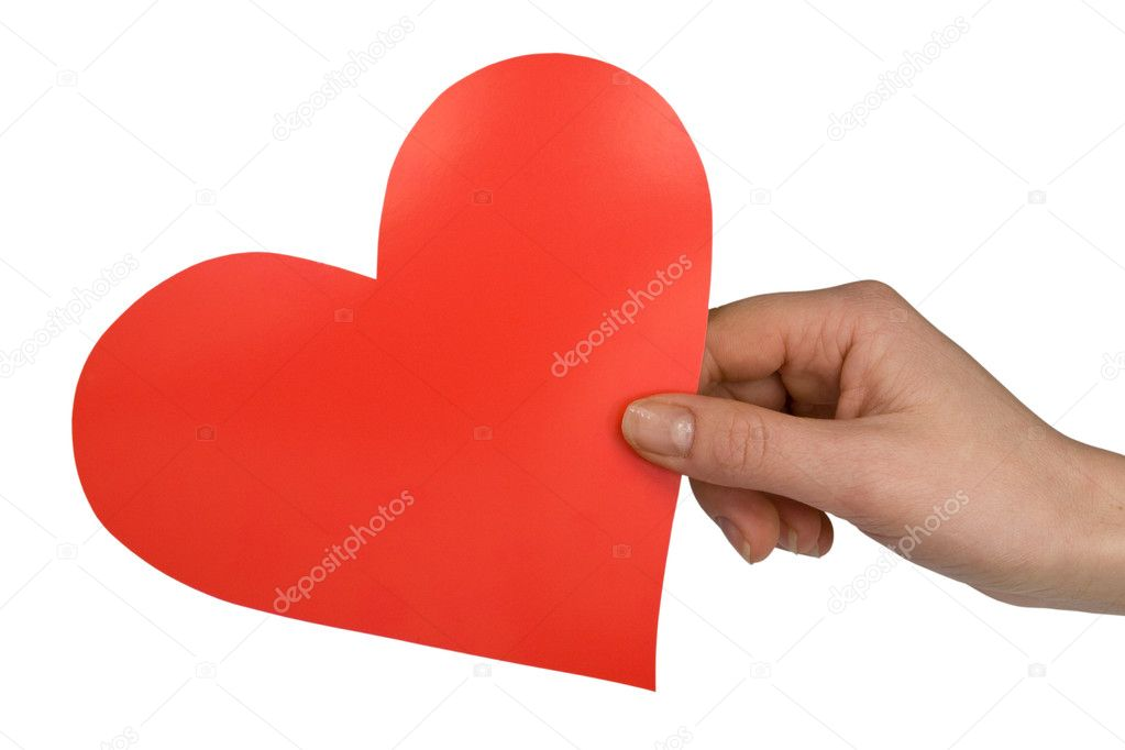 Hand with red paper heart on white background  Stock Photo #4729468