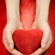 Stock Photo: Hands with heart on red
