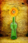 Flasche mit blume auf grunge hintergrund — Stockfoto