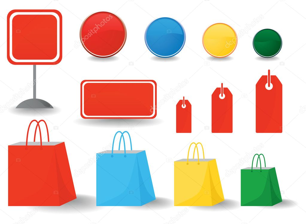 Icons on a theme shop and sales. A vector illustration — Stock Vector #4192501