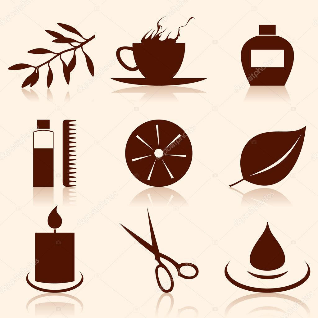 Set of icons on a theme spa. A vector illustration — Stock Vector #4448137