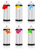Capacity with an aerosol of different colours. A vector illustration — Stock Vector