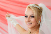 Beautiful young bride keep the veil. — Stock Photo