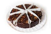 Eight piece of chocolate cake with walnuts. — Stock Photo