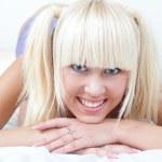 Cute schoolgirl in smiling — Stock Photo