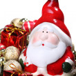 Santa Claus with Christmas decorations — Stock Photo