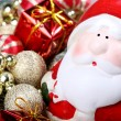 Santa Claus with Christmas decorations - Stock Photo