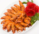 Chinese food. Shrimps in sour sweet sauce. — Stock Photo