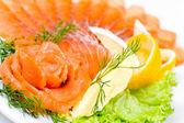 Sliced smoked salmon, macro — Stock Photo