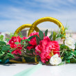 Stock Photo: Wed car decoration