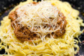 Pasta with minced meat, macro — Stock Photo