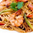 Pasta with shrimps, macro — Stock Photo