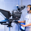 Teleoperator at TV studio — Stock Photo