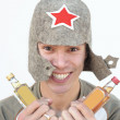 Russian drunkard — Stock Photo