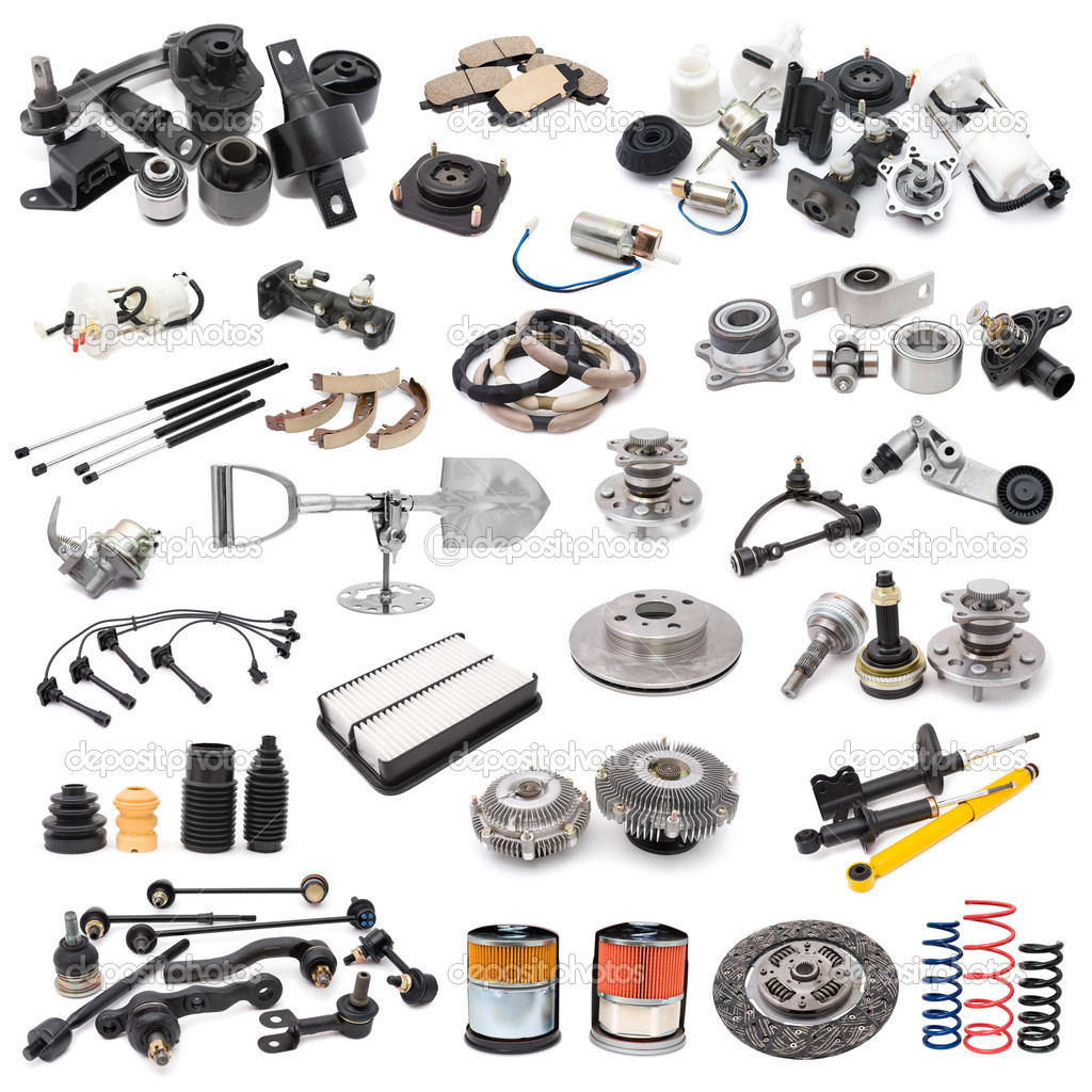 A lot of auto spare parts, over white — Stock Photo #4179523