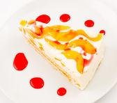 Peach cheese cake — Stock Photo