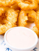Squid rings, fried in batter, macro — Stock Photo