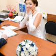 Bride is afraid of getting married - Stock Photo